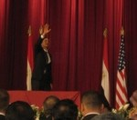 Obama waving to the crowd 2